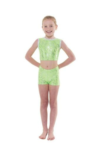 Tappers and Pointers Girls Crop Top and Shorts Set Gymnastics Acro Gym Dance